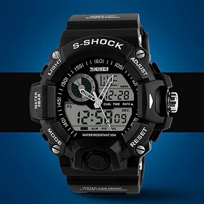 Amazon.com: Quartz Digital Camo Waterproof Watch Dual Time Man Sports Watches Luxury Reloj Hombre Black: Watches