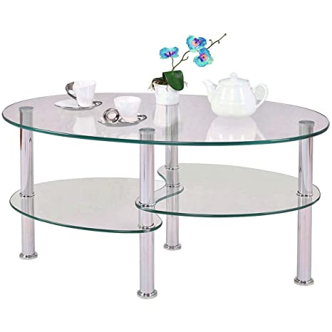 Amazon.com: Metal Frame Glass Shelves Coffee Table Living ...