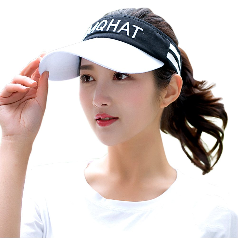 HindaWi Visor Hat for Women Sun Hat Sports Golf Tennis Caps Black with White Visor