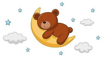 Wandtattoo Kinderzimmer Wandsticker Mond Mit Schlafendem Braunbar