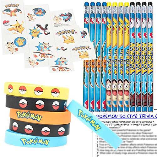 Pokemon Party Favors for 12 - Pokemon Kids Wristbands (12), Pokemon Pencils (12), Pokemon Tattoos (16 squares), and Pokemon Go Trivia Questions