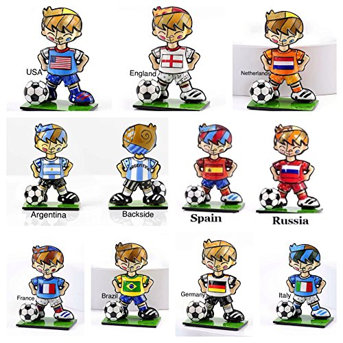 ROMERO BRITTO COMPLETE COLLECTION OF WORLD CUP MINI/MINIATURE SOCCER PLAYER FIGURINES- SET OF 10 by Gift Craft