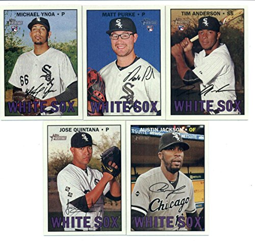 2016 Topps Heritage High Number Chicago White Sox Team Set of 5 Cards in a Sealed Team Bag which includes: Austin Jackson(#511), Jose Quintana(#617), Michael Ynoa(#632), Matt Purke(#638), Tim Anderson(#674)