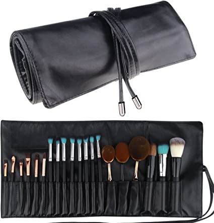 Estuche plegable portátil de cuero con 18 bolsillos marca MLMSY para brochas de maquillaje, organizador de cosméticos: Amazon.es: Belleza