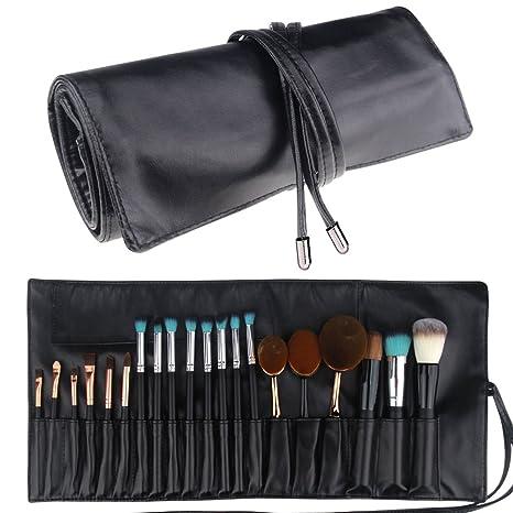 Estuche plegable portátil de cuero con 18 bolsillos marca MLMSY para brochas de maquillaje, organizador de cosméticos
