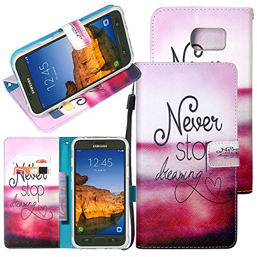 S7 Active Case, Galaxy S7 Active Case, Harryshell(TM) [Never Stop Dreaming] Wallet PU Leather Flip Stand View Case Cover with Card Slots & Wrist Strap for Samsung Galaxy S7 Active (C-2)