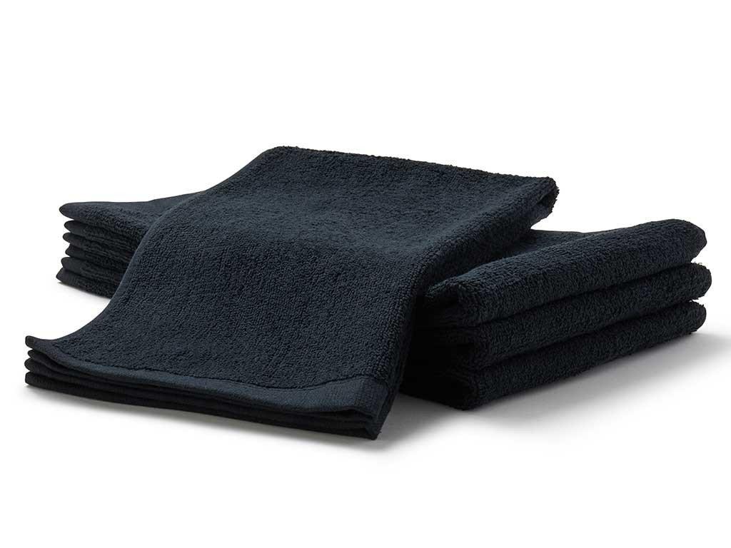 Beauty Threadz Premium 100% Luxurious Cotton Heavy Weight Salon Towels, Hand Towels, Gym & Spa Towels, 16'' L, 4 lb/doz, Black, 12 Piece (12)