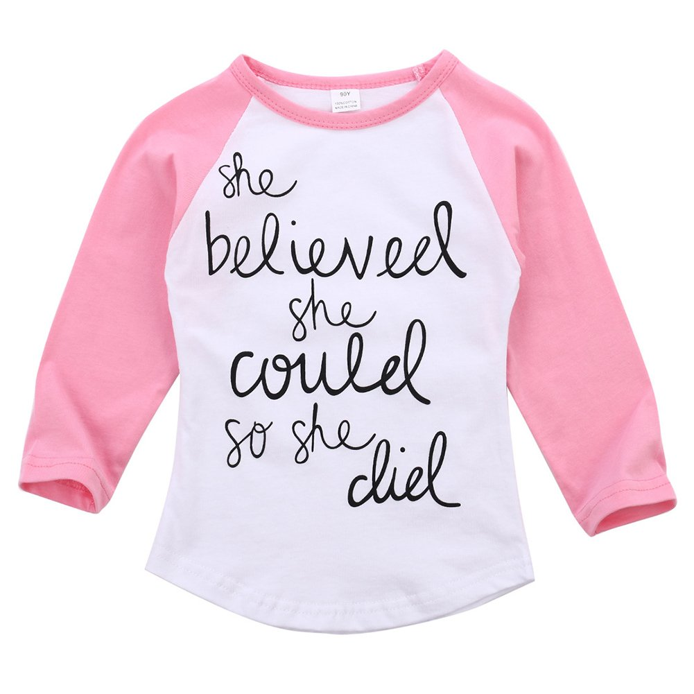 MIOIM Baby Little Girls Letter Pinted Saying Long Sleeve T-Shirt Tops Tees Blouse Ska852