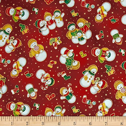 Fabri-Quilt Seasons Greetings Snowmen Red Fabric by The Yard, ()