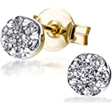 Goldmaid  - Boucles d'Oreilles Femme - Or jaune 585/1000 (14 Ct) 1.2 Gr - Diamant 0.25 ct