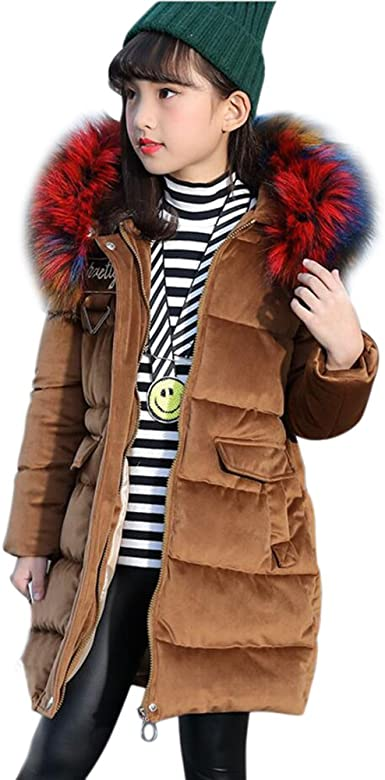 Kids Girls Winter Warm Floral Butterfly Fur Hooded Cotton Padded Coat Jacket UK