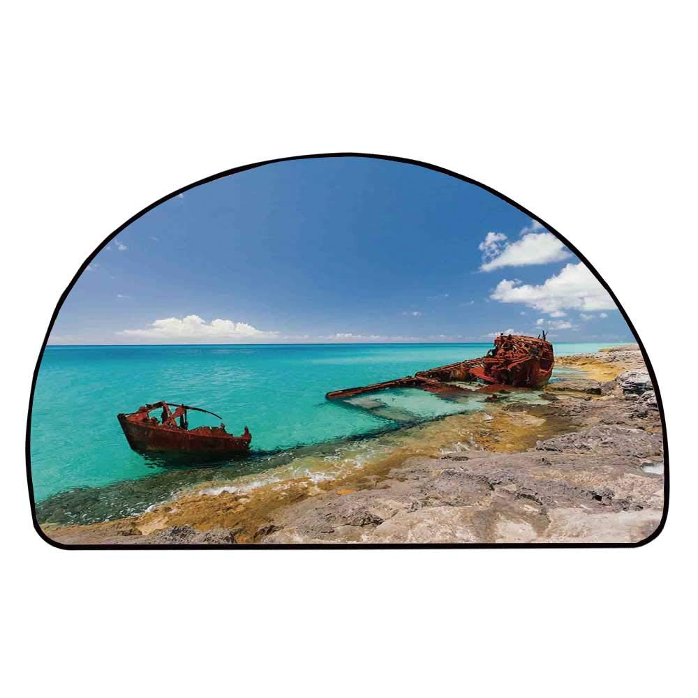 C COABALLA Shipwreck Comfortable Semicircle Mat,Ship Wreckage on a Peaceful Rock Shore Natural Wonder Under Idyllic Sky Image for Living Room,11.8'' H x 23.6'' L