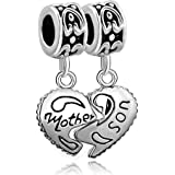 Fit Pandora Charms Silver Plated Heart Mother & Son Family Puzzle Dangle Beads