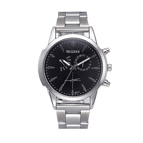 Relojes Hombre Deportivos acuáticos, Moda Hombre Crystal Acero Inoxidable Analog Quartz Wrist Reloj BK