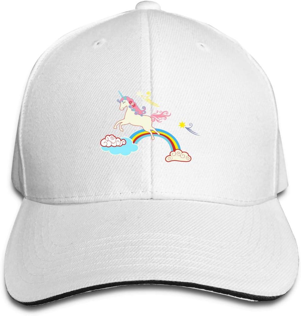 WFIRE Adult Baseball Caps Rainbow Unicorn Custom Adjustable Sandwich Cap Casquette Hats