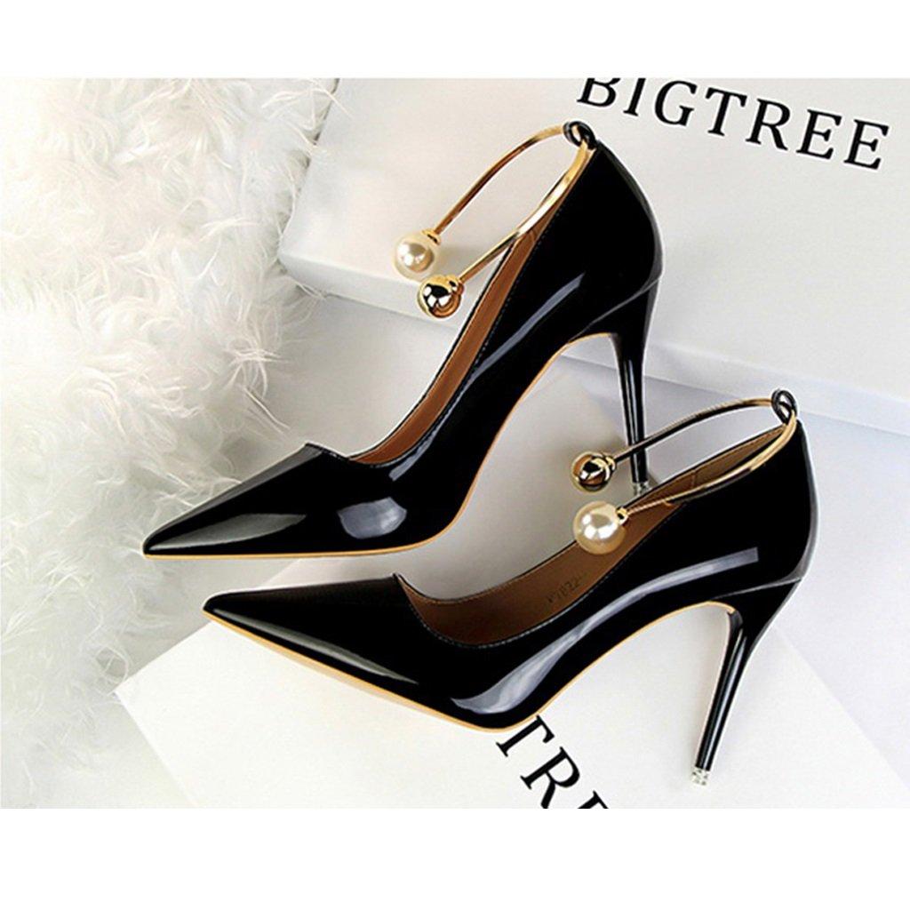 ALUK- Damenschuhe - Europa und die Vereinigten Staaten sexy sexy sexy High Heels wies wilden Strass Hochzeit Schuhe ( Farbe   Schwarz , größe   35-schuhe long225mm ) 6b417a