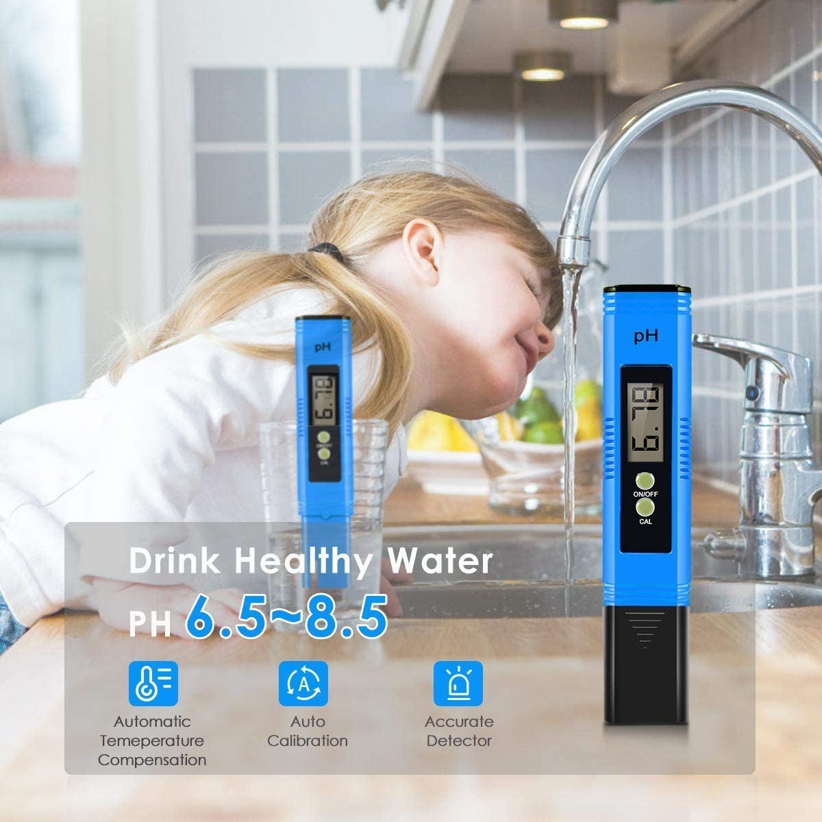 GDMONIN PH Meter Aquariums Swimming Pools with ATC Accurate and Reliable Digital PH Meter 0-14 PH for Hydroponics Drinking Water