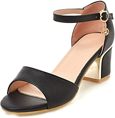 Plus Size 32-43 Ankle Strap Sandals on Square Heels Date Casual Women Shoes Woman Shoes