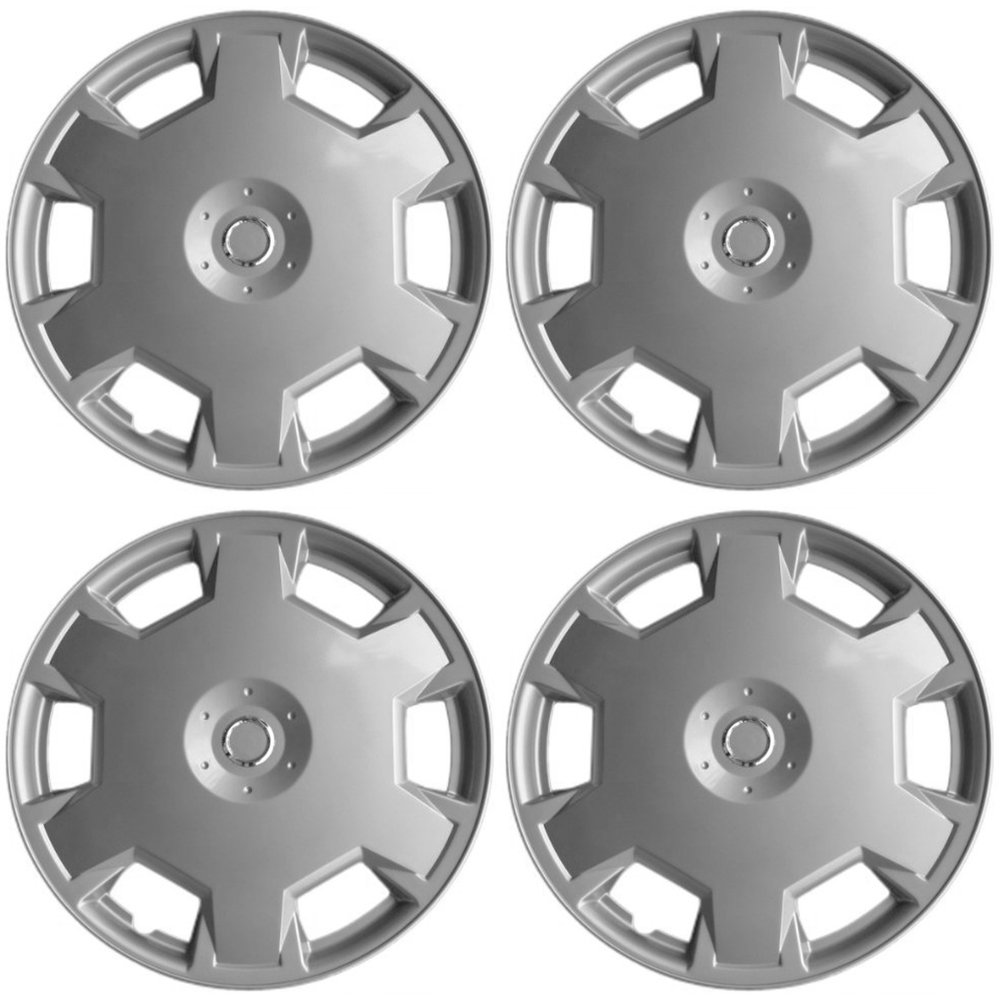 OxGord Hubcaps for Nissan Versa/Cube (Pack of 4) Wheel Covers - 15 Inch, 6 Spoke, Snap On, Silver