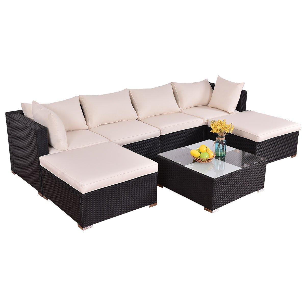 Amazon.com: tangkula Muebles de mimbre al aire última ...