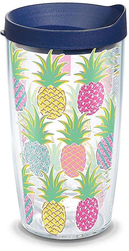 0191098feb0 Tervis 1267533 Simply Southern Colorful Pineapples 16 oz Tumbler with lid,  Clear