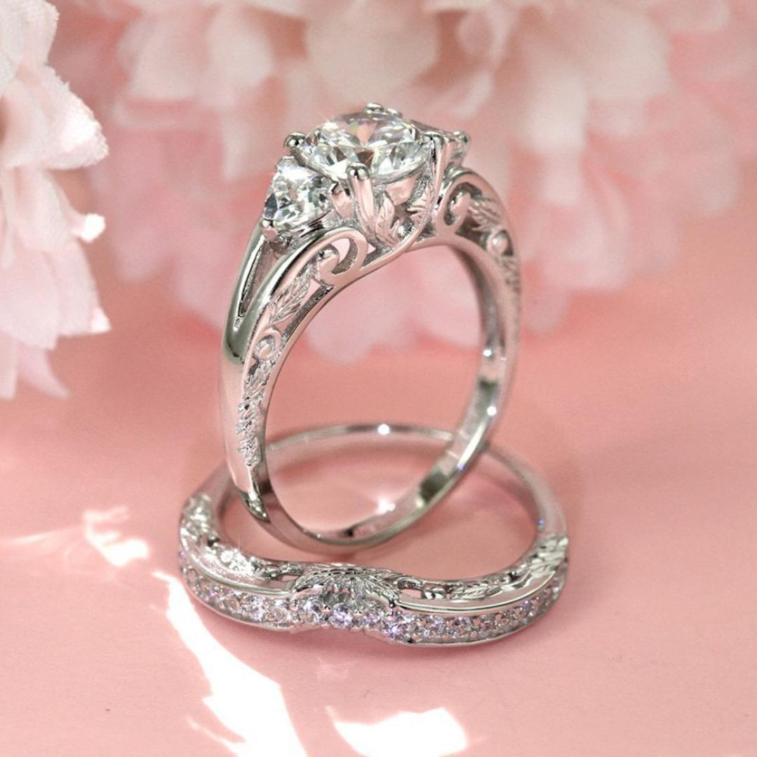 Amazon.com: Hot Sale! 2-in-1 Fashion Brilliant Diamond Halo Ring ...
