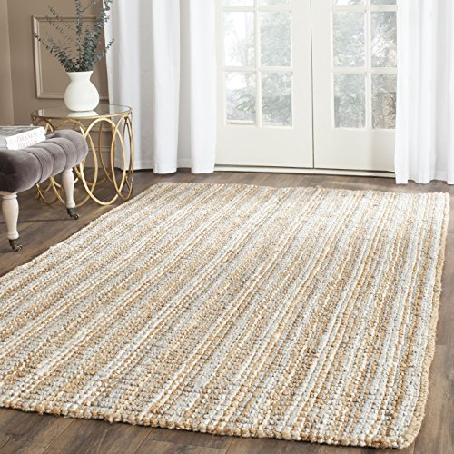 Safavieh Natural Fiber Collection NF447K Hand Woven Grey and Natural Jute Area Rug (6' x 9') - Hand Woven Furniture