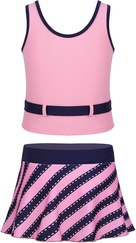 Choomomo Kids Girls Two Piece Tankini Swimsuit Athletic Sports Tank Top with Skirted Bottom Swimwear Swim Dress