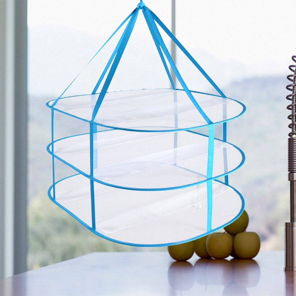 3-Tier Network Hanging Clothes Basket, Collapsible Network Storage Organizer Space Save Bags Sweater Drying Rack FAVOLOOK