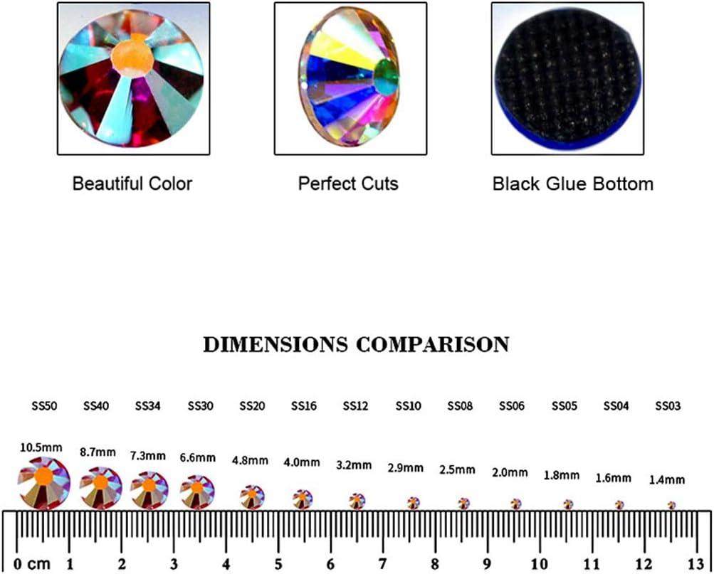 10 Farben AB mit Box Blinginbox SS10 Strasssteine DMC Hot Fix Strasssteine Kristallglas Strss Hotfix Strasssteine f/ür Kleidung verschiedene Farben