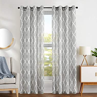 jinchan Grey Moroccan Tile Print Curtains for Bedroom Curtain - Quatrefoil Flax Linen Blend Textured Geometry Lattice Grommet Window Treatment Set for Living Room - 50  W x 63  L - (2 Panels)