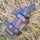 Ottoza Custom Handmade Dark Brown Right Hand Leather Knife Sheath for Bushcraft Knife – Hunting Knife – Camping Knife – Survival Knife – Fixed Blade Knives Horizontal Scout/Cow- Buffalo Leather