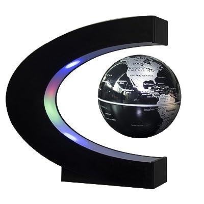 Estefanlo Floating Globe with LED Lights C Shape Magnetic Levitation Floating Globe World Map for Desk Decoration (Black-Silver): Office Products