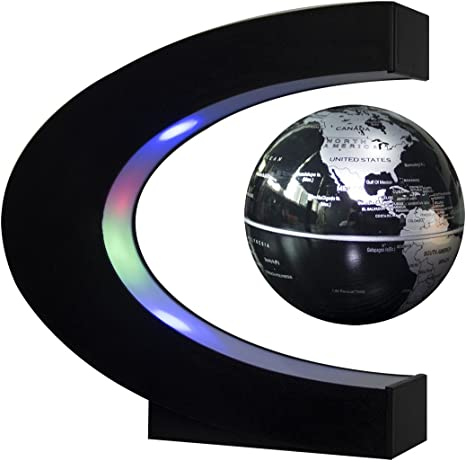 EU Fdit Magnetic Levitation Floating Globe mit rotierendem Weltkarten-Globus mit LED-Lichtdekor 8,7 x 1,9 Zoll