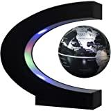 Senders Floating Globe With Led Lights C Shape Magnetic Levitation Floating Globe World Map For Desk Decoration (Black Silver)