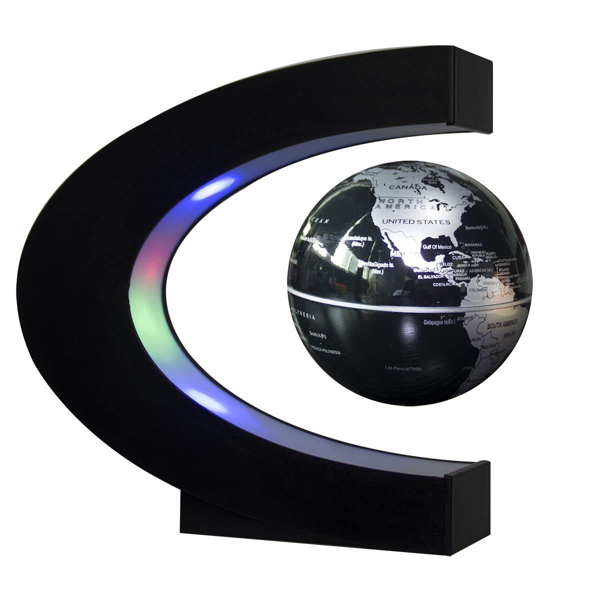 Senders Floating Globe with LED Lights C Shape Magnetic Levitation Floating Globe World Map for Desk Decoration (Black-Silver) by Senders