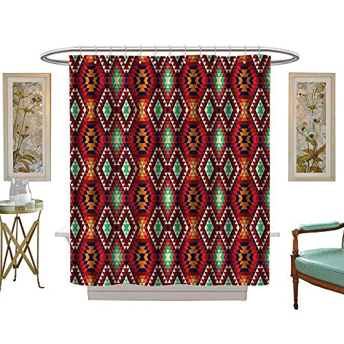 Halloween Shower Curtain,Native American,Diamond Form Tiles,Water Repellent, Machine Washable - Hotel Quality51 W x 78