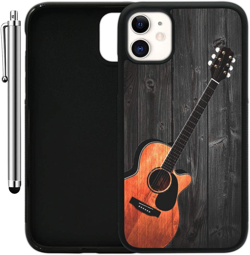 "Custom Case Compatible with iPhone 11 (6.1"") (Guitar on Wood) Edge-to-Edge Rubber Black Cover Ultra Slim 
