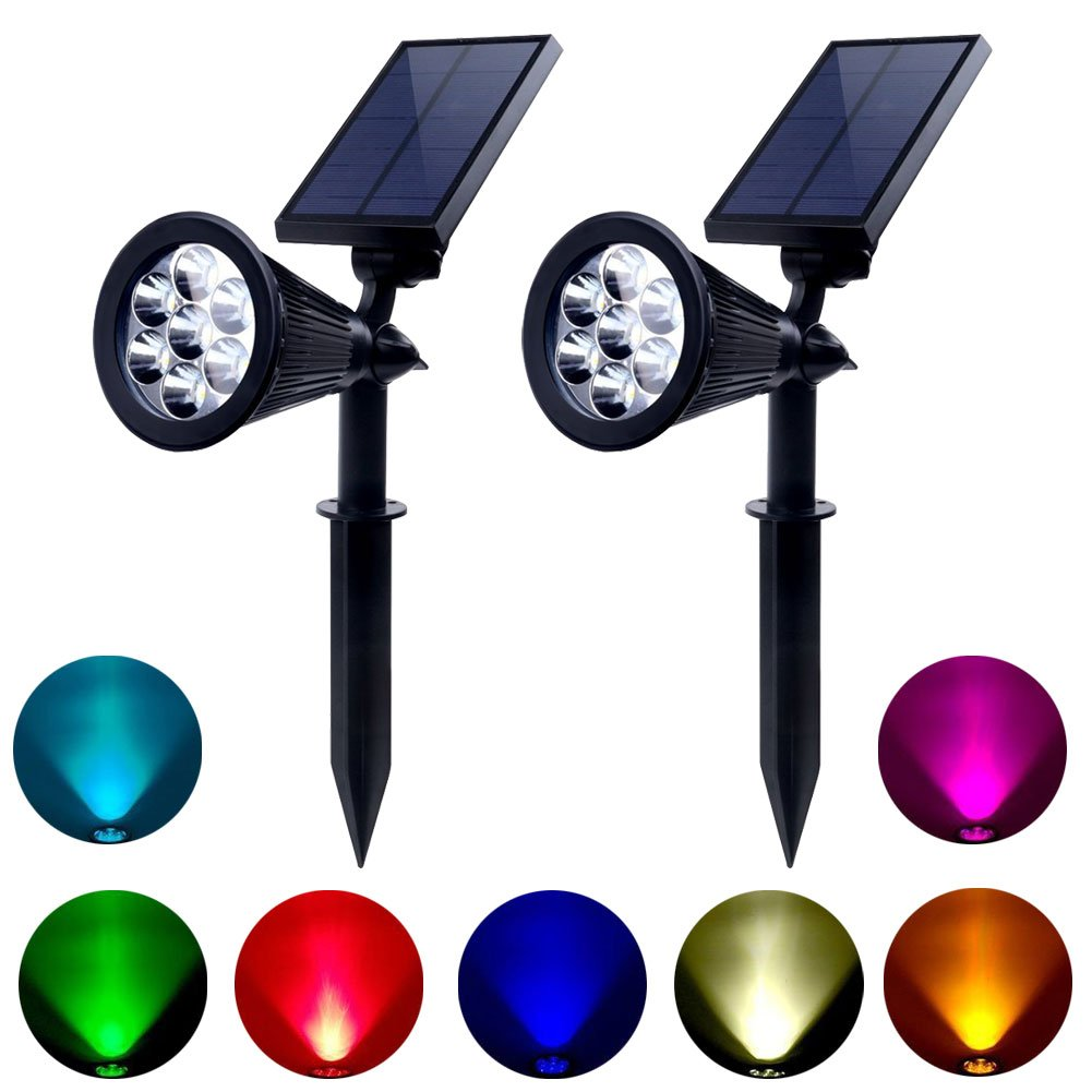 Solar Lights Outdoor Colored Waterproof 7 LED Solar Spot Lights Color Changing Landscape Spotlight for Yard Garden Patio Lawn - 2 Pics