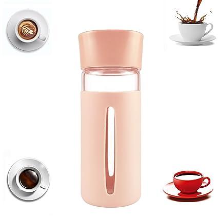Tazas Cafe Desayuno Taza Botella Agua Cristal 400ml Silicona Libre de Bpa Vidrio Ecologica Sin Bpa Tazas Té Café Leche Bebida Viaje Para Llevar ...