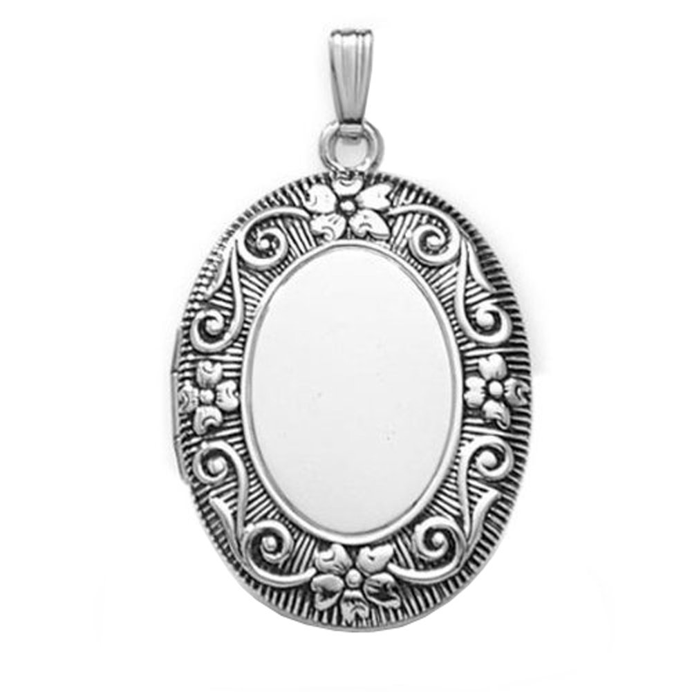 Sterling Silver Oval ''Antique'' Picture Locket - 1 1/2 Inches Wide X 2 Inches Tall in Sterling Silver w / engraving