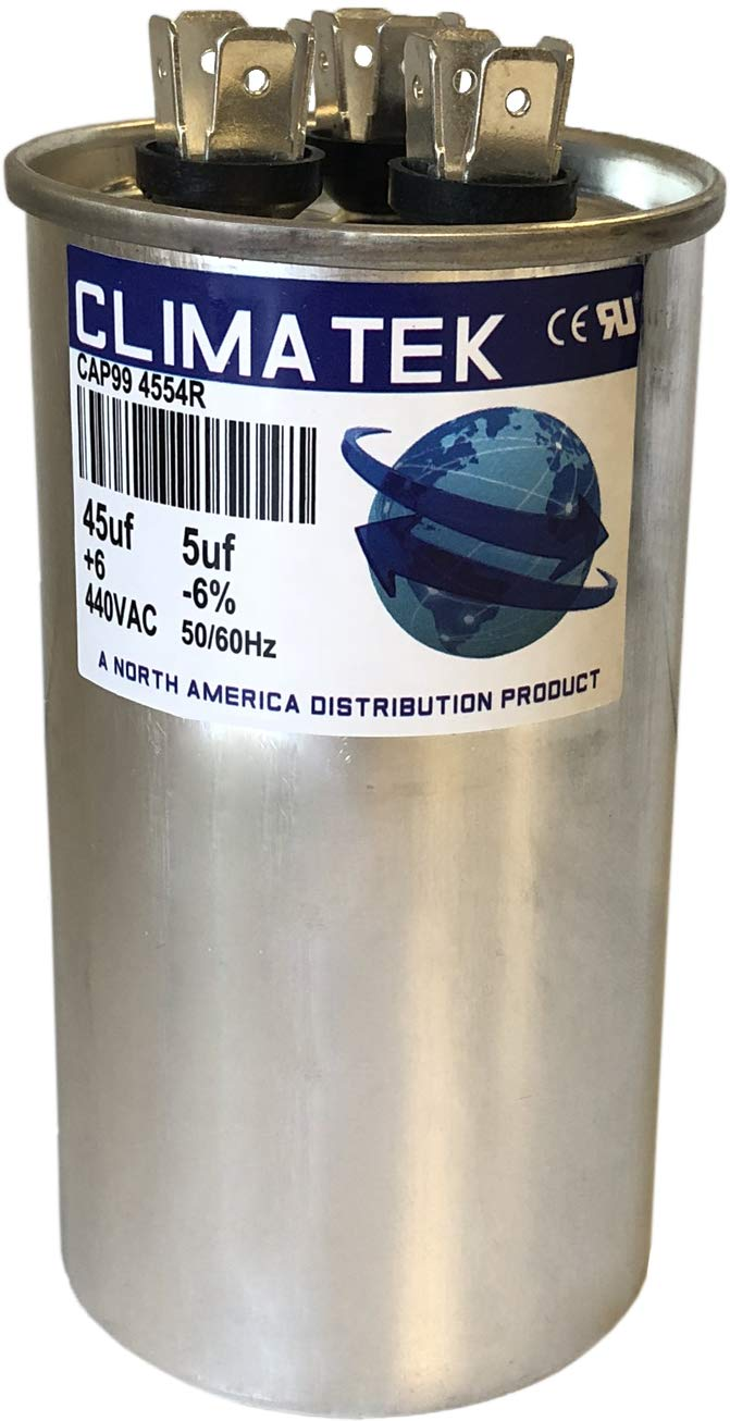 fits Carrier # HC98KA046D 45//5 uf MFD 370//440 Volt VAC ClimaTek Round Capacitor