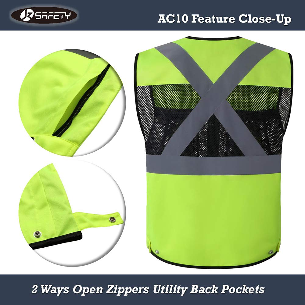 JKSafety 10 Pockets Class 2 High Visible Reflective Safety Vest Zipper Front Large Back Pockets Breathable and Mesh Lining (X-Large, Yellow Black) by JKSafety (Image #6)
