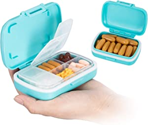 SHAREWIN Travel Pill Organizer, Moisture Proof Pill Box Case, BPA-Free and Food-Grade to Hold Vitamins, Fish Oil, Supplements and Medication