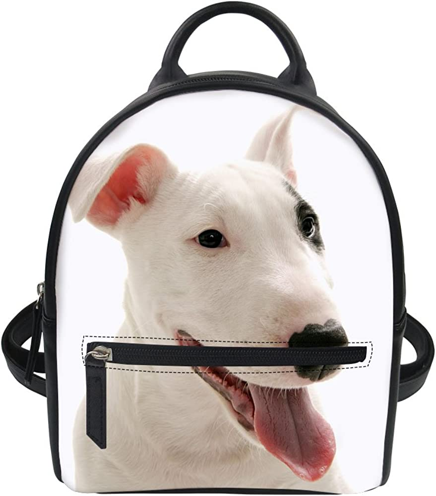 doginthehole Bull Terrier Print Leather Backpack PU Women Travel Shoulder Bag Satchel