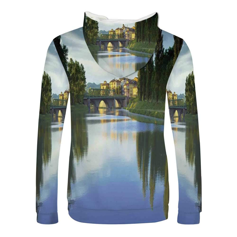 Landscape Sweatshirt,Lake Landscape with Jetty Cloudy and Dramatic Sky Scene at Sunset Hooded for Men /& Boys,Small