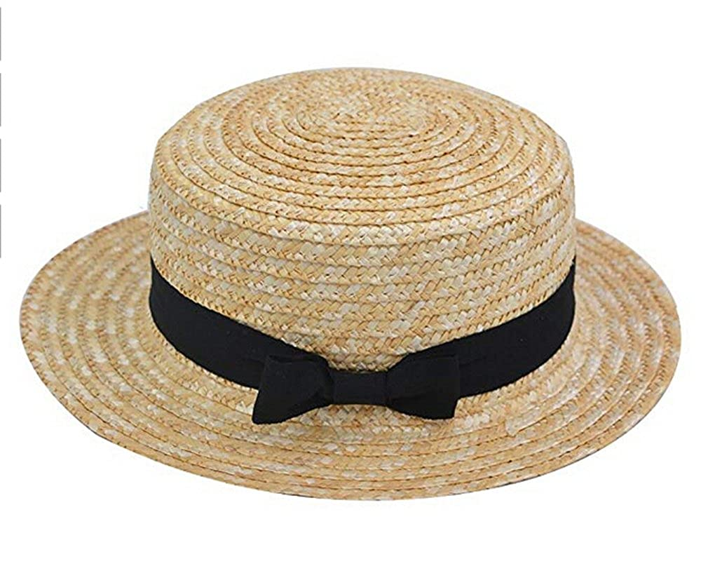 fd67a879d7c Women s Parent-Child Flat Top Straw Boater Hat Casual Beach Sun Hat Panama  Hats at Amazon Women s Clothing store