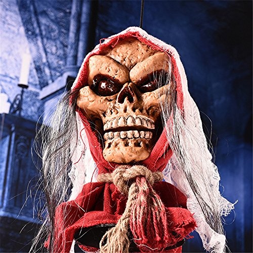 YHOOEE Skeleton Halloween Horror Decoration Halloween Horror Ghost Haunted Scary Skull Halloween Creepy Props Party Horror Scary Props,Red -