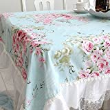 French Country Cottage Shabby Chic Floral Rose Blue Pink Table Cloth Chair Pad Cushion