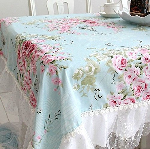 French Country Cottage Shabby Chic Floral Rose Blue Pink Table Cloth Chair Pad Cushion - French Country Chair Cushions